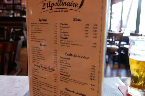 Getränkekarte im L'Apollinaire in Paris