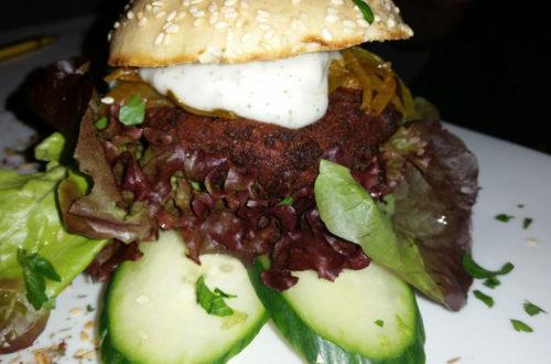 Veganer Mush Mosh Burger Nahaufnahme